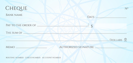 Cheque, Check (Chequebook template). Guilloche pattern with abstract line watermark. Background hi detailed for banknote, money design, currency, bank note, Voucher, Gift certificate, Money coupon