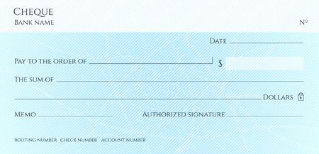 Scheck, Scheck (Scheckheft-Vorlage). Guilloche-Muster mit abstraktem Wasserzeichen. Hintergrund hallo detailliert für Banknoten, Gelddesign, Währung, Banknote, Gutschein, Geschenkgutschein, Geldgutschein Vektorgrafik