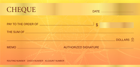 Cheque, Check (Chequebook template). Guilloche pattern with abstract line watermark. Gold background hi detailed for banknote, money design,currency, bank note, Voucher, Gift certificate, Money coupon