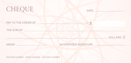 Check, Cheque (Chequebook template). Guilloche pattern with abstract line watermark. Background hi detailed for banknote, money design, currency, bank note Illustration