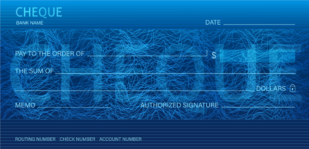 Cheque, Check (Chequebook template). Guilloche pattern with abstract line watermark. Dark background hi detailed for banknote, money design,currency, bank note, Voucher, Gift certificate, Money coupon