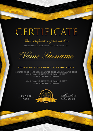 Certificate template with geometry frame and gold badge. Black background design for Diploma, certificate of appreciation, achievement, completion, of excellence, award Çizim