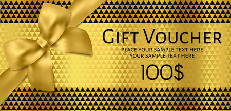Gift Voucher, Gift Certificate, Coupon design. Template with modern gold and black geometric background and golden bow, ribbon