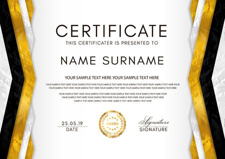 Zertifikatsvorlage mit Geometrierahmen und Goldabzeichen. Weißes Hintergrunddesign für Diplom, Anerkennungsurkunde, Leistung, Abschluss, Exzellenz, Auszeichnung