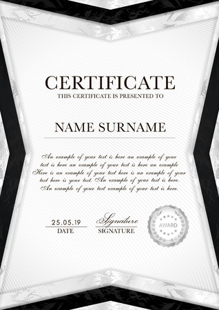 Silver certificate template with line guilloche background pattern (watermark), geometry frame and silver badge.  White background design for Diploma, certificate of appreciation