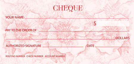 Cheque, Check template. Flower light pattern. Red floral watermark background for Voucher, Gift certificate, Money coupon Illustration