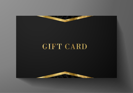 Gift card (Gift card discount), Luxury reward card, Gift coupon with golden pattern. Black background design (dark) for voucher template design, invitation, ticket. Vector