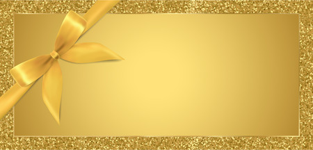 Golden ticket, Gift Voucher, Gift Certificate with sparkle glitter frame background and gold bow (ribbon). Blank coupon template useful for any invitations, party, event or entertainment show