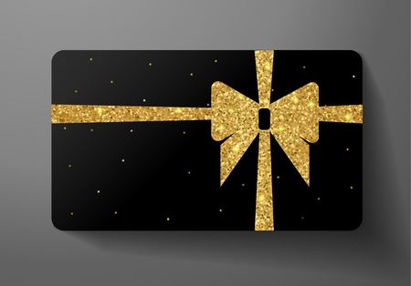 Gift card (VIP). Holiday blank design with big golden bow, ribbon and gold glitter pattern. Black starry background useful for Gift coupon design, voucher template, invitation
