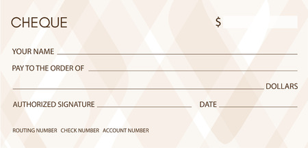 Cheque, Check (Chequebook template). Background with pattern for money design, currency, banknote, bank note, Voucher, Gift certificate, coupon Illustration
