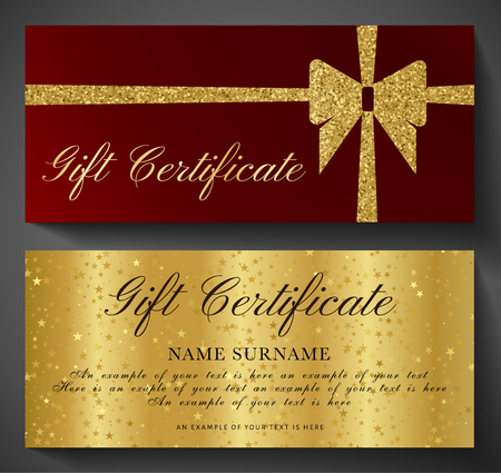 Gift Certificate, Golden ticket, Gift Voucher with sparkle starry glitter background and gold bow (ribbon). Blank coupon  template useful for invitation, party, event or entertainment show