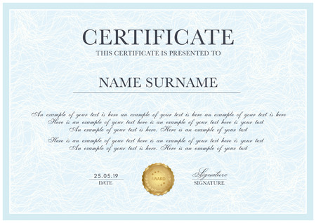 Certificate template with Guilloche pattern,  frame border and gold award. Blue background design for Diploma, certificate of appreciation, achievement, completion, of excellence