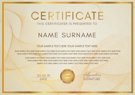 Certificate template with Guilloche pattern, golden frame border and gold award. Background design for Diploma, certificate of appreciation, achievement, completion, of excellence