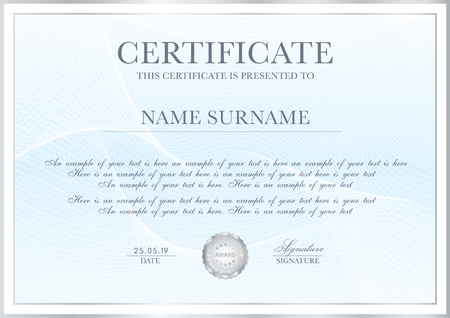 Certificate template with Guilloche pattern, silver frame border and gold award. Blue background design for Diploma, certificate of appreciation, achievement, completion, of excellence