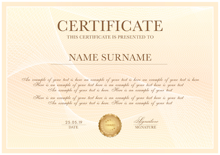 Modèle de certificat avec motif guilloché, bordure de cadre et médaille d'or. Conception d'arrière-plan pour le diplôme, le certificat d'appréciation, la réussite, l'achèvement, l'excellence