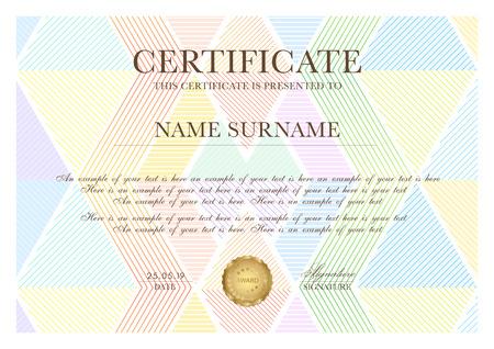 Plantilla de certificado colorido con patrón de triángulo geométrico (textura de línea). Diseño de fondo para Diploma, certificado de reconocimiento, logro, excelencia, plantilla de premio