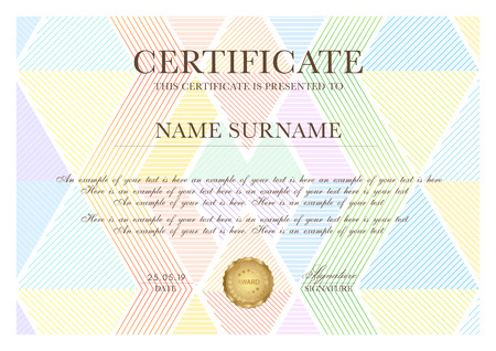 Colorful certificate template with geometric triangle pattern (line texture). Background design for Diploma, certificate of appreciation, achievement, excellence, award template