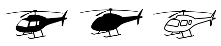 Helicopter simple black silhouette. Isolated copter icon vector illustration on white background Vettoriali