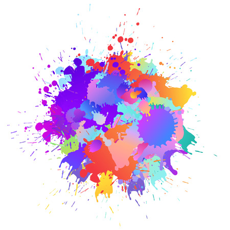 Colorful banner background with art paint drops, spots. Grunge layout of rainbow blotch (different colors silhouette of splotches). Vector multicolored artwork layout 矢量图像