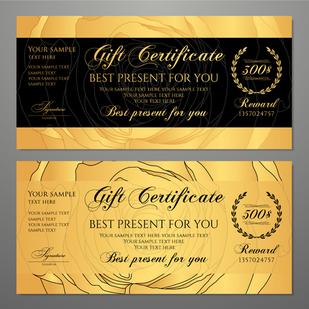 Gift certificate, Voucher, Coupon template with flowers Roses, gold and black pattern background. Useful for golden ticket, invitation, mothers Day card, Gift card