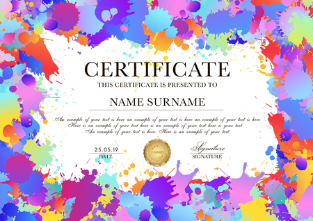 Certificate, Diploma template with colorful pattern background (art paint drops, spots). Vector Rainbow blotch layout (different colors silhouette of splotches) useful for finishing art class, school Ilustração
