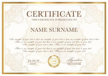Modello di certificato. Bordo dorato con motivo arabescato per Diploma, atto, certificato di apprezzamento, realizzazione, qualsiasi disegno di premio