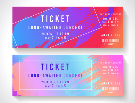 Admission ticket template. Vector mockup concert ticket (tear-off) with colorful art paint brush. Modern bright rainbow gradient background. Useful for party, movie, cinema or entertainment show pass Çizim