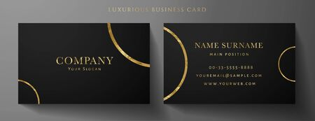 Luxury black Business card design template with gold Art Deco circle lines (VIP Gift Card). Dark background with golden modern round lines