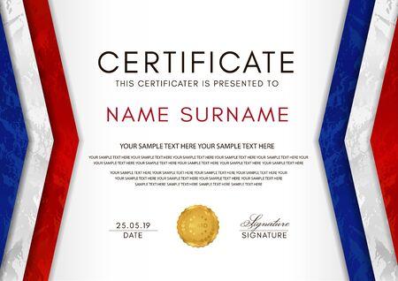 Zertifikatsvorlage mit Rahmen der französischen Flagge (blau, weiß, rot) und goldenem Abzeichen. Weißes Hintergrunddesign für Diplom, Anerkennungsurkunde oder Auszeichnung Vektorgrafik