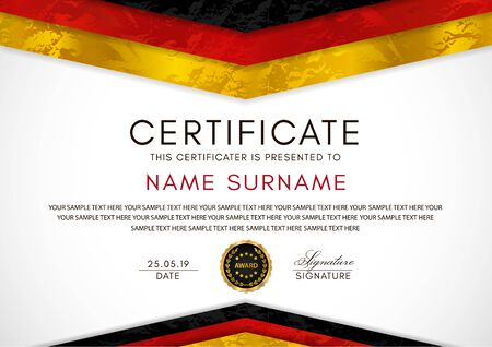 Certificate template with German flag (black, red, yellow colors) frame and gold badge. White background design for Diploma, certificate of appreciation or award 向量圖像