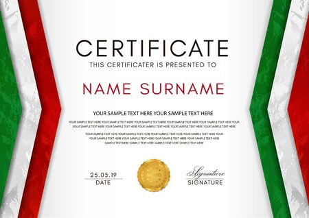 Certificate template with Italian flag (black, red, yellow colors) frame and gold badge. White background design for Diploma, certificate of appreciation or award 向量圖像