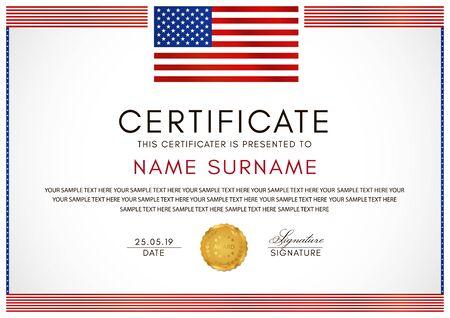 Zertifikatsvorlage mit Rahmen der amerikanischen Flagge (USA) und Goldabzeichen. Weißes Hintergrunddesign für Diplom, Anerkennungsurkunde oder Auszeichnung