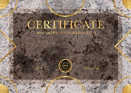 Zertifikatsvorlage mit Geometrierahmen und Goldabzeichen. Grunge-Marmor-Hintergrunddesign für Diplom, Anerkennungsurkunde oder Auszeichnung