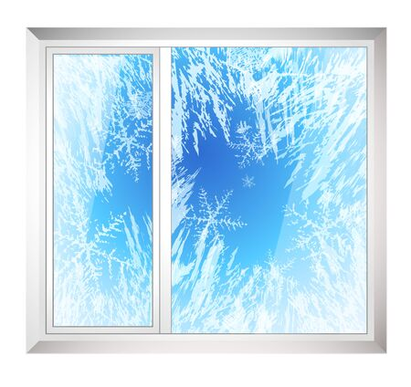 Frost pattern on Window. Frozen window in winter (vector ice crystals) with snowflakes