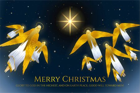 Christmas holiday background with angels. Holy night vector illustration. Night sky with Christmas star and starry sky (angels flight)