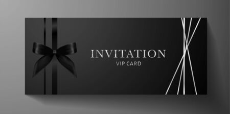 Luxurious VIP Invitation template with bow, ribbon on black background and silver text. Premium class design for Gift certificate, Voucher, Gift card