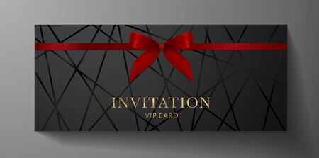 Luxurious VIP Invitation template with red bow, ribbon on black background and silver text. Premium class design for Gift certificate, Voucher, Gift card Stock Illustratie
