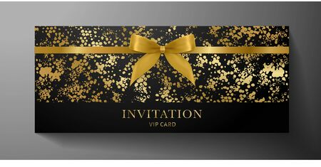 Luxurious VIP Invitation template with gold bow, ribbon on black textured background. Premium class design for Gift certificate, Voucher, Gift card