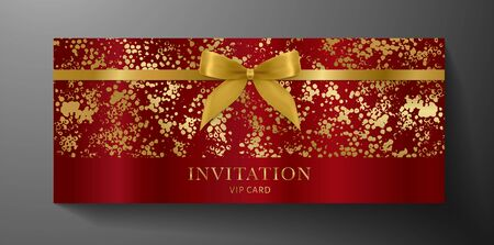 Luxurious VIP Invitation template with gold bow, ribbon on maroon textured background. Premium class design for Gift certificate, Voucher, Gift card