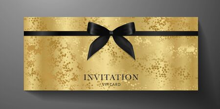 Luxurious VIP Invitation template with black bow, ribbon on golden textured background. Premium class design for Gift certificate, Voucher, Gift card