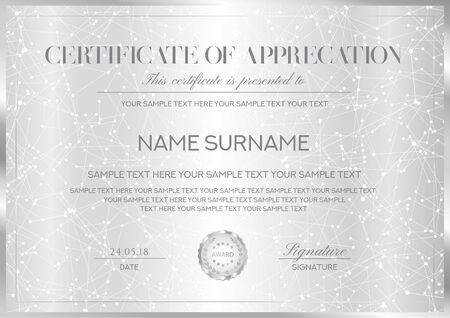 Certificate vector template with silver background, border and emblem. Formal secured Guilloche pattern for Diploma, deed, certificate of appreciation, achievemen