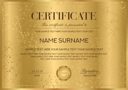 Certificate vector template with gold border and seal (golden emblem). Formal secured Guilloche pattern for Diploma, deed, certificate of appreciation, achievement