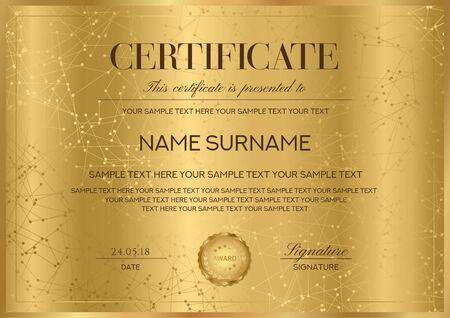 Modèle vectoriel de certificat avec bordure dorée et sceau (emblème doré). Modèle guilloché sécurisé formel pour diplôme, acte, certificat d'appréciation, réalisation
