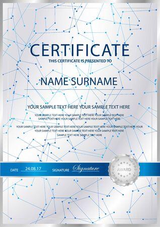 Certificate vertical vector template background. Formal secured Guilloche pattern for Diploma, deed, certificate of appreciation, achievemen. Silver seal, emblem Ilustración de vector