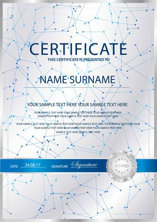 Certificate vertical vector template background. Formal secured Guilloche pattern for Diploma, deed, certificate of appreciation, achievemen. Silver seal, emblem Illustration