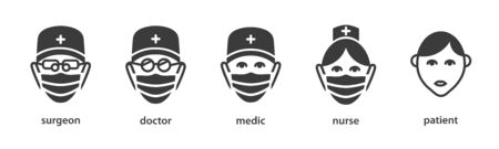 Medical staff icon set. Flat outline black sign: doctor, nurse in medical mask (personnel in hospital). Isolated simple outline vector symbols on white background Vektorové ilustrace