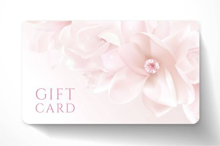 Gift card with beautiful realistic magnolia white flower isolated on clean background. Template useful for wedding design, women shopping card (loyalty card)