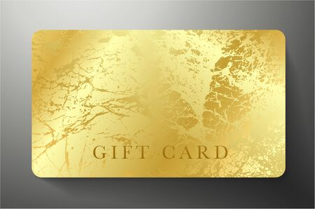 Gift Card with gold royal texture isolated on black luxe background. Golden premium template useful for vip coupon design, gift Voucher or Gift certificate Illusztráció