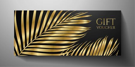 Gift Voucher/ Gift certificate with exotic gold luxe palm branch isolated on black background. Tropical premium template useful for vip invitation, golden coupon design Illusztráció
