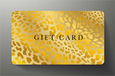Gift card with golden leopard print on gold background. Golden royal template useful for any luxe design, premium shopping card (loyalty card), voucher or gift coupon Vettoriali